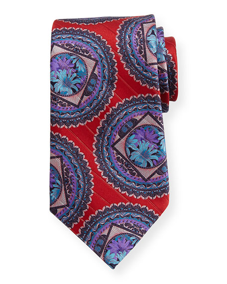 Ermenegildo Zegna Metallic Circle Medallion Tie, Red
