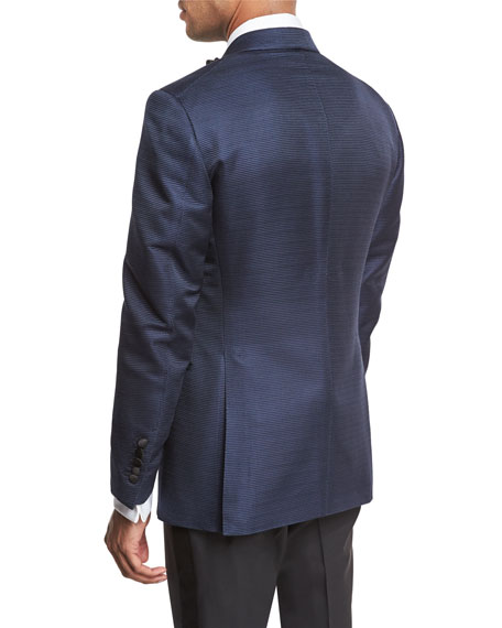 Shelton Base Textured Peak-Lapel Tuxedo Jacket, Bright Blue