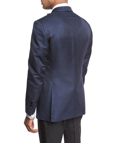 Shelton Base Textured Peak-Lapel Tuxedo Jacket, Bright Blue