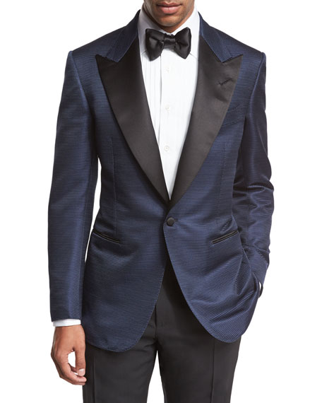 TOM FORD Shelton Base Textured Peak-Lapel Tuxedo Jacket,