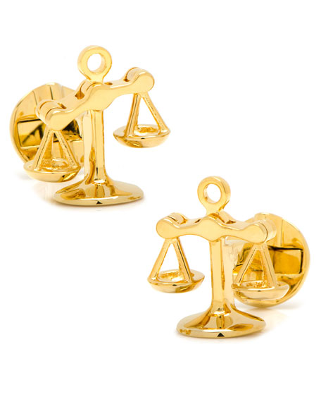 Cufflinks Inc. Moving Parts Golden Scales of Justice