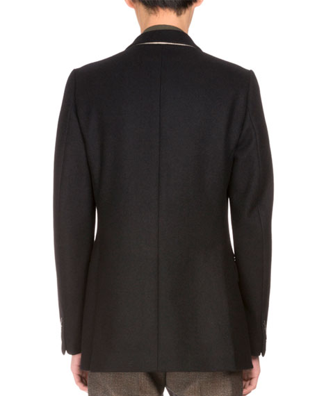 Brodie Embroidered Double-Breasted Coat, Navy