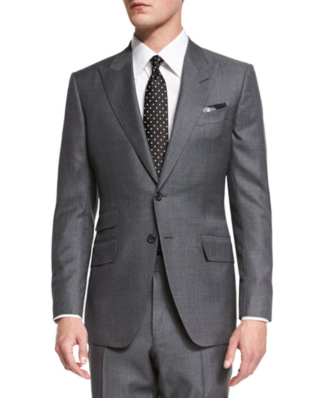 TOM FORD SHELTON BASE MOULINE PRINCE OF WALES PLAID TWO-PIECE SUIT, GRAY