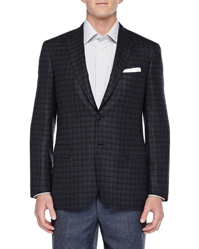 Check Two-Button Jacket, Charcoal/Navy