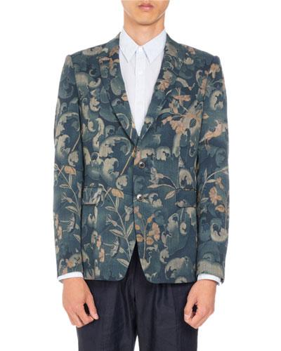 Berger Floral-Print Two-Button Sport Jacket  Dark Green