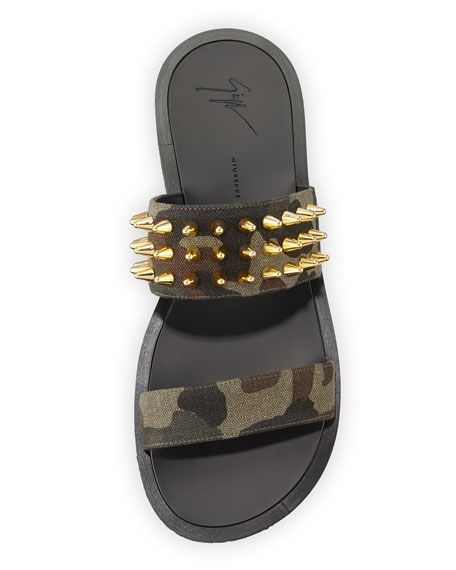 Men's Studded Camo Canvas Strap Sandal