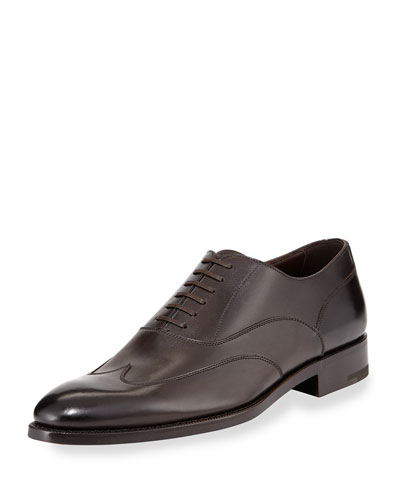 Leather Wing-Top Oxford, Dark Brown