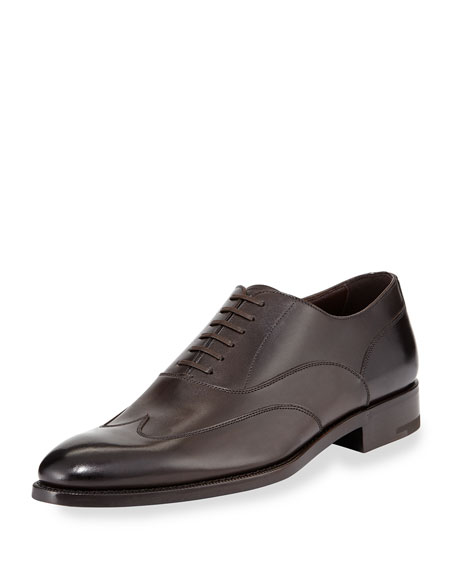Ermenegildo Zegna Leather Wing-Top Oxford, Dark Brown