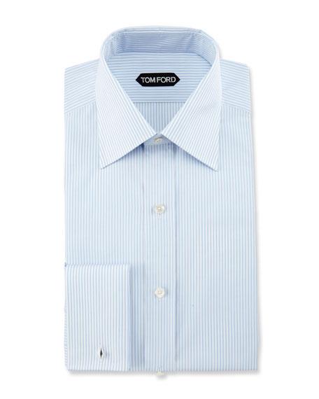 Slim-Fit Striped Dress Shirt, Light Blue