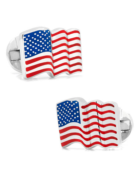 Waving American Flag Cuff Links