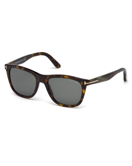 TOM FORD Andrew Square Shiny Acetate Sunglasses, Dark