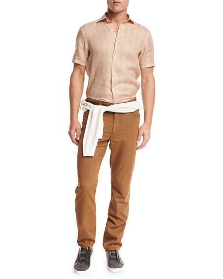 Five-Pocket Straight-Leg Pants, Cognac