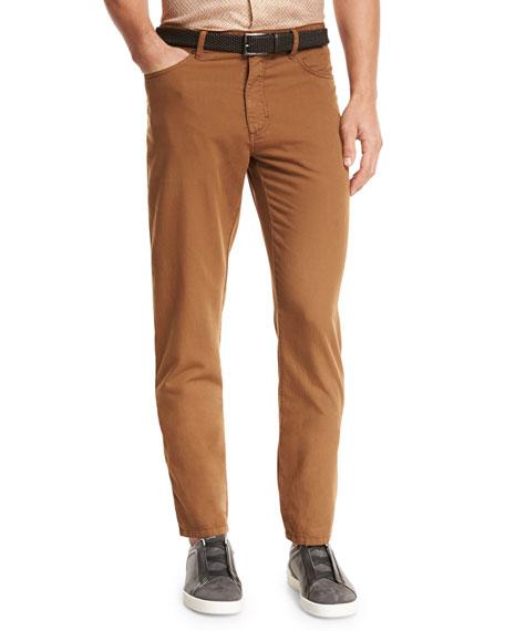 Ermenegildo Zegna Five-Pocket Straight-Leg Pants, Cognac