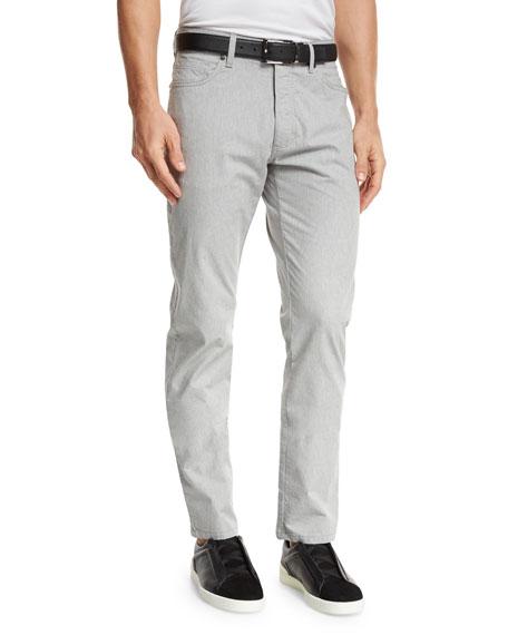 Ermenegildo Zegna Melange Five-Pocket Jeans, Silver Gray