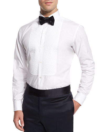 Basic Pleated Cotton Dress Shirt, White