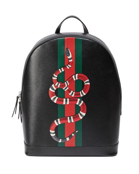 dcd641a51 Gucci Web & Snake Leather Backpack, Black