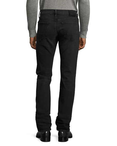 Slim-Fit Denim Jeans, Worn Black