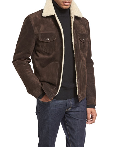 Shearling-Lined Suede Jacket, Chocolate Brown