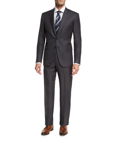 Essential Virgin Wool Two-Piece Suit, Gray
