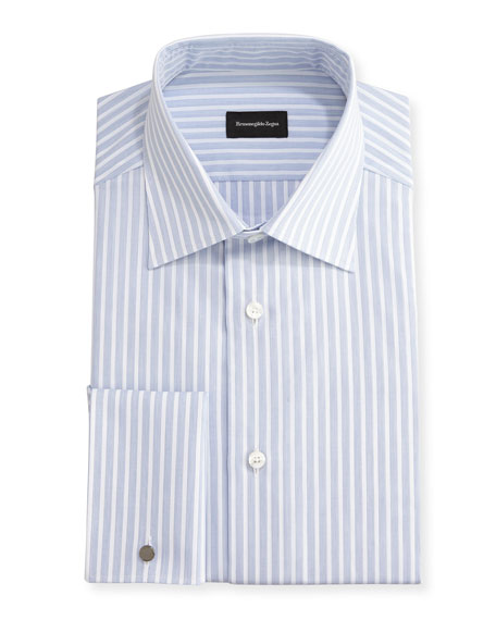 Dotted-Stripe Dress Shirt, White/Blue