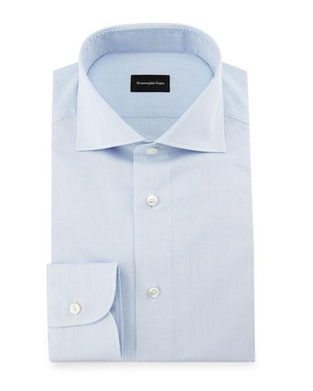 Micro-Grid Dress Shirt, Light Blue