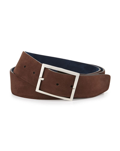 Reversible Suede Belt, Brown/Navy