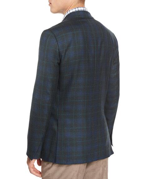 Plaid Cashmere-Blend Two-Button Sport Coat, Aqua