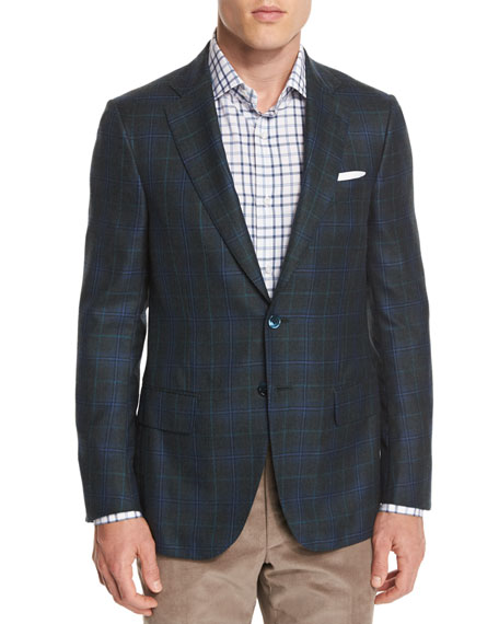 Plaid Cashmere-Blend Two-Button Sport Coat, Aqua
