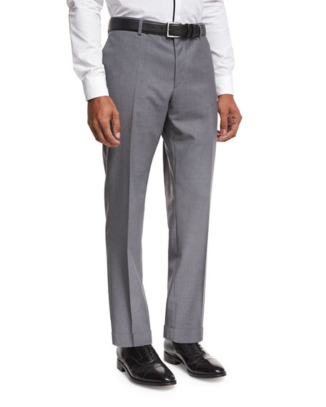 BOSS Solid Flat-Front Straight-Leg Trousers, Light Gray