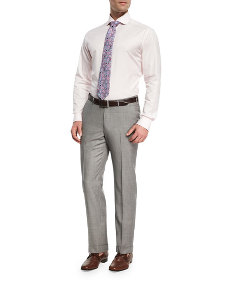 Sharkskin Trofeo® Wool Flat-Front Trousers, Light Gray