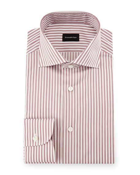 Bold-Stripe Dress Shirt, Burgundy/White
