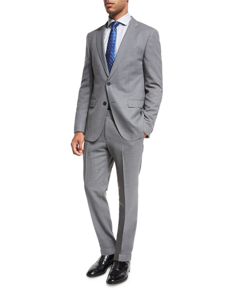 BOSS Mini-Check Wool Two-Piece Suit, Gray