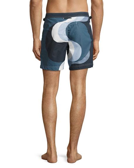 Wave-Print Swim Trunks, Navy