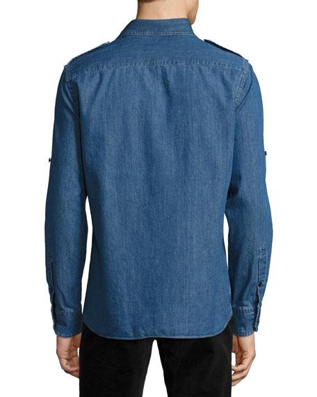 Denim Military Shirt, Medium Blue