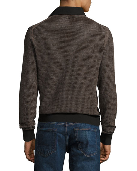 Textured Jacquard Polo Sweater, Black/Tan