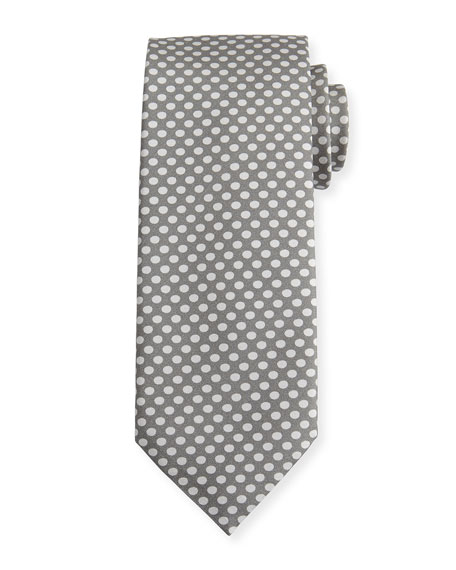 Dot-Print Silk Tie, Gray