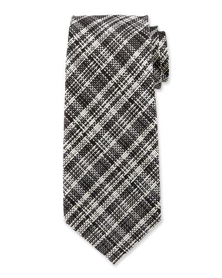 Textured Plaid Silk Tie, Black