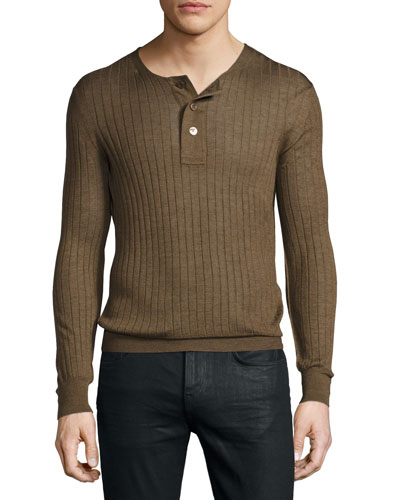 Lightweight Cashmere-Silk Ribbed Henley Sweater, Rust