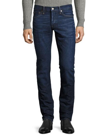 Slim-Fit Denim Jeans, Worn Blue