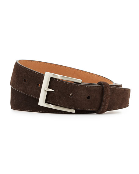 Suede Belt with Interchangeable Buckles, Dark Brown