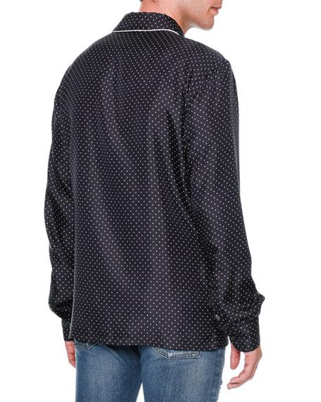 Dot-Print Long-Sleeve Pajama Shirt, Navy