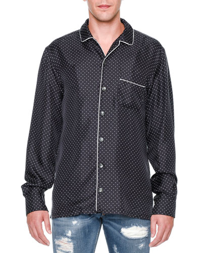 Dot-Print Long-Sleeve Pajama Shirt, Navy