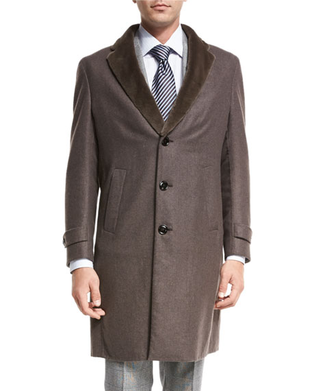 Topcoat w/Mink Fur Collar, Light Brown