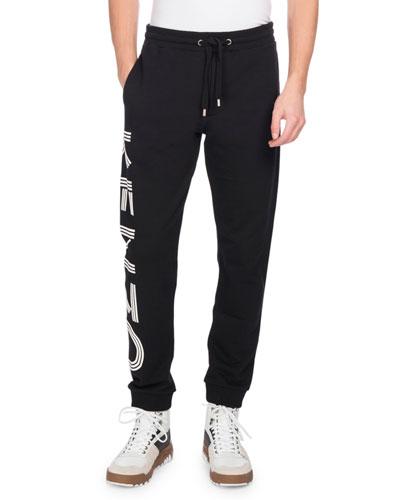Side-Logo Drawstring Sweatpants, Gray