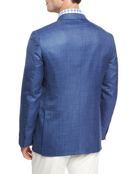 Textured Wool-Silk-Linen Two-Button Sport Coat