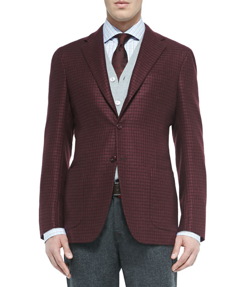 Houndstooth Three-Button Jacket