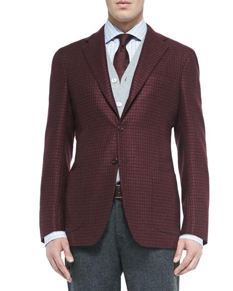 Houndstooth Three-Button Jacket