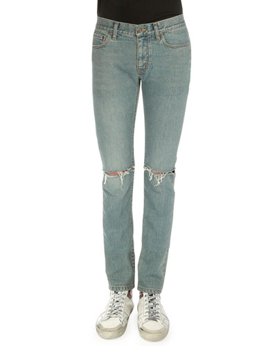 Destroyed-Knee Five-Pocket Jeans, Light Blue