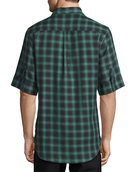 Deconstructed Plaid Short-Sleeve Shirt, Dark Green