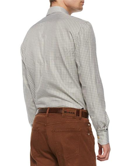 Check Long-Sleeve Woven Shirt, Olive/Tan